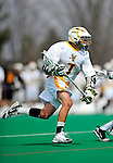 10 April 2011: University of Vermont Catamount attacker Geoff Worley, a Junior from Coronado, CA, in action against the University at Albany Great Danes on Moulton Winder Field in Burlington, Vermont. The Catamounts defeated the visiting Danes 11-6 in America East play. Mandatory Credit: Ed Wolfstein Photo