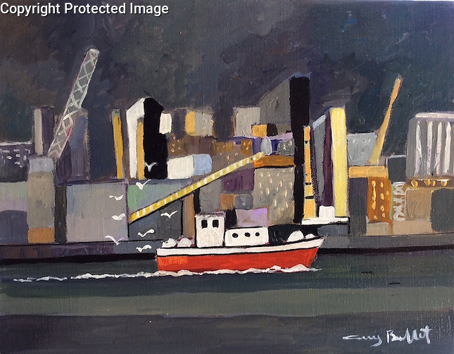 La Coruna; The Red Boat<br /> 11x14 Acrylic on Canvas Original Painting<br /> $5,500
