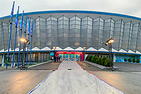 Eingang zum Veranstaltungsort Romexpo, Roter Teppich noch wegen dem Regen verdeckt - 30.11.2019: UEFA EURO2020 Auslosung, Romexpo Bukarest, DISCLAIMER: UEFA regulations prohibit any use of photographs as image sequences and/or quasi-video.