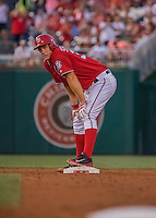 6 August 2016: Washington Nationals starting pitcher Stephen Strasburg stands on second after leading off the bottom of the 3rd inning with a double against the San Francisco Giants at Nationals Park in Washington, DC. The Giants defeated the Nationals 7-1 to even their series at one game apiece. Mandatory Credit: Ed Wolfstein Photo *** RAW (NEF) Image File Available ***