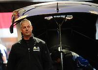 Sept. 30, 2011; Mohnton, PA, USA: NHRA crew member Jason Sharp for funny car driver Leah Pruett during qualifying for the Auto Plus Nationals at Maple Grove Raceway. Mandatory Credit: Mark J. Rebilas-