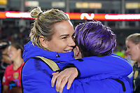 CARSON, CA - FEBRUARY 7: United States goalkeeper Ashlyn Harris #18 celebrates with  Megan Rapinoe #15 during a game between Mexico and USWNT at Dignity Health Sports Park on February 7, 2020 in Carson, California.