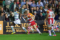 20120803 Copyright onEdition 2012©.Free for editorial use image, please credit: onEdition..Marland Yarde of London Irish accelerates towards the tryline against Gloucester Rugby 7s at The Recreation Ground, Bath in the Final round of The J.P. Morgan Asset Management Premiership Rugby 7s Series...The J.P. Morgan Asset Management Premiership Rugby 7s Series kicked off again for the third season on Friday 13th July at The Stoop, Twickenham with Pool B being played at Edgeley Park, Stockport on Friday, 20th July, Pool C at Kingsholm Gloucester on Thursday, 26th July and the Final being played at The Recreation Ground, Bath on Friday 3rd August. The innovative tournament, which involves all 12 Premiership Rugby clubs, offers a fantastic platform for some of the country's finest young athletes to be exposed to the excitement, pressures and skills required to compete at an elite level...The 12 Premiership Rugby clubs are divided into three groups for the tournament, with the winner and runner up of each regional event going through to the Final. There are six games each evening, with each match consisting of two 7 minute halves with a 2 minute break at half time...For additional images please go to: http://www.w-w-i.com/jp_morgan_premiership_sevens/..For press contacts contact: Beth Begg at brandRapport on D: +44 (0)20 7932 5813 M: +44 (0)7900 88231 E: BBegg@brand-rapport.com..If you require a higher resolution image or you have any other onEdition photographic enquiries, please contact onEdition on 0845 900 2 900 or email info@onEdition.com.This image is copyright the onEdition 2012©..This image has been supplied by onEdition and must be credited onEdition. The author is asserting his full Moral rights in relation to the publication of this image. Rights for onward transmission of any image or file is not granted or implied. Changing or deleting Copyright information is illegal as specified in the Copyright, Design and Patents Act 1988. If you are in any way unsure of you