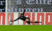 Hope Solo makes the save. US Women's National Team defeated Germany 1-0 at Impuls Arena in Augsburg, Germany on October 29, 2009.