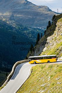 Switzerland, Canton Valais, Val de Moiry above Grimentz at Val d'Anniviers: post bus returning from reservoir Lac de Moiry, elevation of 2.249 m, twisty and steep road   Schweiz, Kanton Wallis, Val de Moiry oberhalb von Grimentz (im Val d'Anniviers): der Postbus auf der Rueckfahrt vom Stausee Lac de Moiry auf 2.249 m, kurvenreiche, steile Strecke