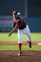 Batavia Muckdogs pitcher Nestor Bautista (39) delivers a pitch during a game against the West Virginia Black Bears on August 30, 2015 at Dwyer Stadium in Batavia, New York.  Batavia defeated West Virginia 8-5.  (Mike Janes/Four Seam Images)