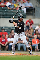 San Antonio Missions outfielder Adam Buschini (11) at bat during a game against the Arkansas Travelers on May 24, 2014 at Dickey-Stephens Park in Little Rock, Arkansas.  Arkansas defeated San Antonio 4-2.  (Mike Janes/Four Seam Images)