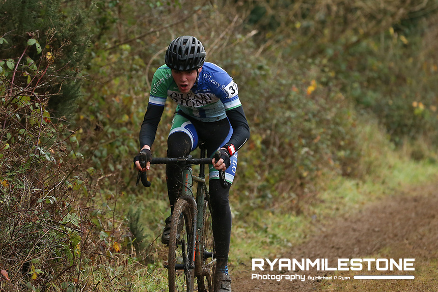 EVENT:<br /> Round 5 of the 2019 Munster CX League<br /> Drombane Cross<br /> Sunday 1st December 2019,<br /> Drombane, Co Tipperary<br /> <br /> CAPTION:<br /> Kian O'Connor of O'Leary Stone Kanturk in action during the A Race - Junior<br /> <br /> Photo By: Michael P Ryan