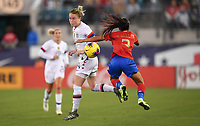 JACKSONVILLE, FL - NOVEMBER 10: Emily Sonnett #14 of the United States and Gabriela Guillen #2 of Costa Rica fight for a ball during a game between Costa Rica and USWNT at TIAA Bank Field on November 10, 2019 in Jacksonville, Florida.
