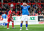 Aberdeen v St Johnstone... 23.07.11   SPL Week 1.Cillian Sheridan holds his head after his header went just wide.Picture by Graeme Hart..Copyright Perthshire Picture Agency.Tel: 01738 623350  Mobile: 07990 594431
