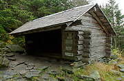 The Perch Shelter, located on Perch Path in Cascade Ravine just off Randolph Path and Israel Ridge Path, in the Presidential Range of the White Mountains, New Hampshire. This shelter was restored in 2010.