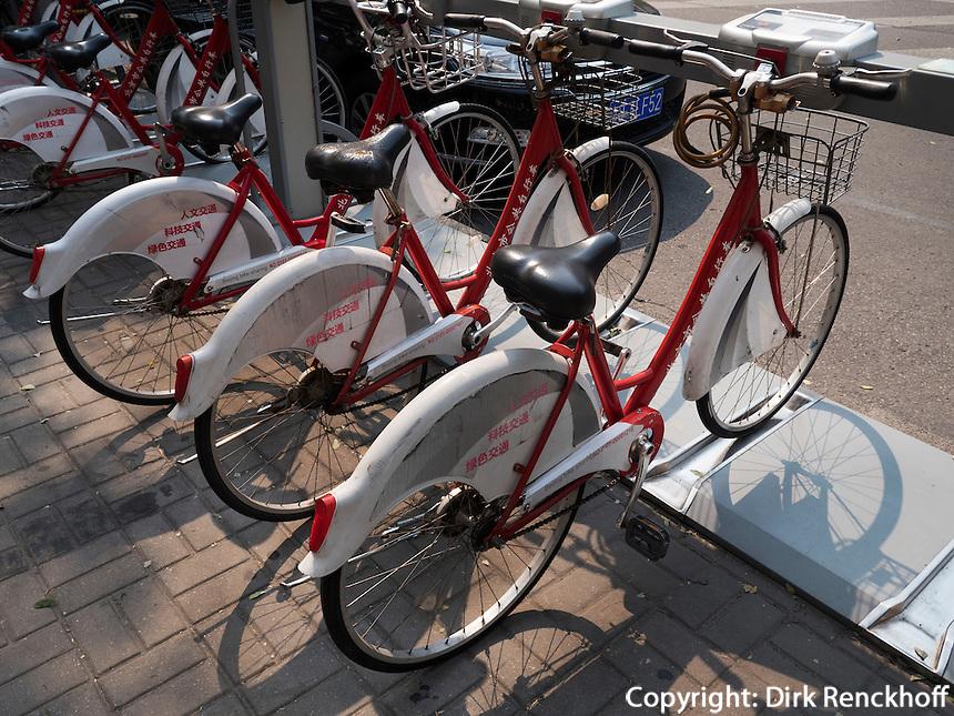 Leihfahrräder in Peking, China, Asien<br /> hire bikes, Beijing, China, Asia