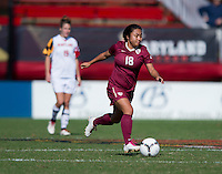 Hikaru Murakami (18) of Florida State brings the ball up the field during the game at Ludwing Field in College Park, MD.  Florida State defeated Maryland, 1-0.
