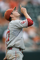 Pitcher Ryan Duke #17 of the Oklahoma Sooners celebrates the victory over the Texas Longhorns in NCAA Big XII baseball on May 1, 2011 at Disch Falk Field in Austin, Texas. (Photo by Andrew Woolley / Four Seam Images)