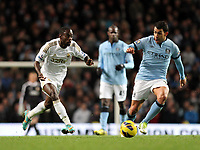 Barclays Premier League, Man City (blue) V Swansea City (white) Etihad Stadium, 27/10812<br /> Pictured: Nathan Dyer came on as a substitute for the Swans<br /> Picture by: Ben Wyeth / Athena Picture Agency
