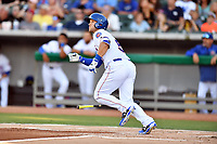 Tennessee Smokies catcher Ian Rice (5) runs to first base during a game against the Pensacola Blue Wahoos at Smokies Stadium on August 5, 2017 in Kodak, Tennessee. The Smokies defeated the Blue Wahoos 6-2. (Tony Farlow/Four Seam Images)