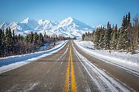 The Richardson Highway just north of the Alaska Range.