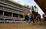 Louisville, KY- May 05:  Bodemeister with Mike Smith leads the field  into the first turn of the Kentucky Derby at Churchill Downs in Louisville, KY on 05/04/12. (Alex Evers/ Eclipse Sportswire)