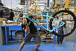 Final assembly for a Methanol mountain bike, Bianchi Factory, Treviglio, Italy. 30th September 2015.<br /> Picture: Eoin Clarke | Newsfile