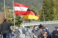 Deutsche und Österreichische Fahne an der Pressetribüne - Seefeld 30.05.2021: Trainingslager der Deutschen Nationalmannschaft zur EM-Vorbereitung