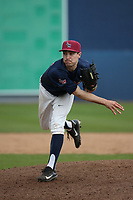 Ted Boeke (16) of the Loyola Marymount Lions pitches against the Washington State Cougars at Page Stadium on February 26, 2017 in Los Angeles, California. Loyola defeated Washington State, 7-4. (Larry Goren/Four Seam Images)