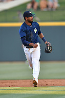 Second baseman Luis Carpio (18) of the Columbia Fireflies plays defense in a game against  the West Virginia Power on Thursday, May 18, 2017, at Spirit Communications Park in Columbia, South Carolina. Columbia won in 10 innings, 3-2. (Tom Priddy/Four Seam Images)