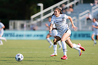 CARY, NC - SEPTEMBER 12: Morgan Weaver #22 of the Portland Thorns attacks the ball during a game between Portland Thorns FC and North Carolina Courage at Sahlen's Stadium at WakeMed Soccer Park on September 12, 2021 in Cary, North Carolina.