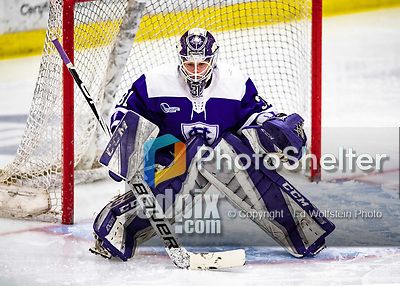 2 February 2020: Holy Cross Crusader Goaltender Jada Brenon, a Sophomore from Pendleton, NY, in third period action against the University of Vermont Catamounts at Gutterson Fieldhouse in Burlington, Vermont. Brenon made 51 saves in the game, keeping the Crusaders in the lead for almost the entire game. However, the Lady Cats rallied in the 3rd period to tie the Crusaders 2-2 in NCAA Women's Hockey East play. Mandatory Credit: Ed Wolfstein Photo *** RAW (NEF) Image File Available ***