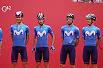 Movistar Team at sign on before the start of Stage 5 of the 2021 UAE Tour running 170km from Fujairah to Jebel Jais, Fujairah, UAE. 25th February 2021.  <br /> Picture: Eoin Clarke   Cyclefile<br /> <br /> All photos usage must carry mandatory copyright credit (© Cyclefile   Eoin Clarke)