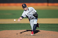 Richmond Spiders relief pitcher Zach Moore (30) in action against the Wake Forest Demon Deacons at David F. Couch Ballpark on March 6, 2016 in Winston-Salem, North Carolina.  The Demon Deacons defeated the Spiders 17-4.  (Brian Westerholt/Four Seam Images)