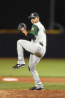 Fort Wayne TinCaps pitcher Nick Mutz (4) delivers a pitch during a game against the Lake County Captains on August 21, 2014 at Classic Park in Eastlake, Ohio.  Lake County defeated Fort Wayne 7-8.  (Mike Janes/Four Seam Images)