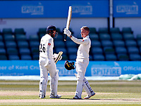 Luke Wood celebrates his hundred for Lancashire during Kent CCC vs Lancashire CCC, LV Insurance County Championship Group 3 Cricket at The Spitfire Ground on 23rd April 2021