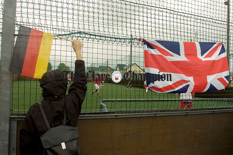 International flags flying at Wolfe Tones GAA club during the Digital River Soccer tournament.Pic Arthur Ellis.