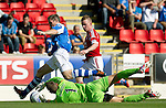 St Johnstone v Aberdeen....18.08.12   SPL.A mix up between Frazer Wright and keeper Alan Mannus leaves the ball free for Johnny Hayes tyo walk into the net to make it 2-0.Picture by Graeme Hart..Copyright Perthshire Picture Agency.Tel: 01738 623350  Mobile: 07990 594431