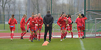 Zulte Waregem's players pictured during the warming up of  a female soccer game between SV Zulte - Waregem and White Star Woluwe on the 9th matchday of the 2020 - 2021 season of Belgian Scooore Women s SuperLeague , saturday 12 th of December 2020  in Waregem , Belgium . PHOTO SPORTPIX.BE | SPP | DIRK VUYLSTEKE