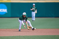USF Bulls shortstop Nick Gonzalez (2) fields a ground ball during a game against the Dartmouth Big Green on March 17, 2019 at USF Baseball Stadium in Tampa, Florida.  USF defeated Dartmouth 4-1.  (Mike Janes/Four Seam Images)