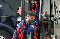 KANSAS CITY, KS - JULY 15: Cristian Roldan #10 of the United States arriving at the stadium before a game between Martinique and USMNT at Children's Mercy Park on July 15, 2021 in Kansas City, Kansas.