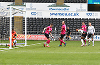 1st May 2021; Liberty Stadium, Swansea, Glamorgan, Wales; English Football League Championship Football, Swansea City versus Derby County;  Morgan Whittaker of Swansea City's header crosses the line to score the equalizer to make it 1-1 in the 64th minute