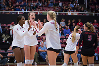 STANFORD, CA - November 15, 2017: Tami Alade, Merete Lutz, Kathryn Plummer, Jenna Gray, Morgan Hentz at Maples Pavilion. The Stanford Cardinal defeated USC 3-0 to claim the Pac-12 conference title.