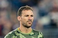 FOXBOROUGH, MA - AUGUST 24: Kenneth Kronholm #27 of Chicago Fire during a game between Chicago Fire and New England Revolution at Gillette Stadium on August 24, 2019 in Foxborough, Massachusetts.