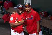 Palm Beach Cardinals coach Bernard Gilkey and pitcher Alvaro Seijas pose for a photo before a Florida State League game against the Clearwater Threshers on August 10, 2019 at Roger Dean Chevrolet Stadium in Jupiter, Florida.  Clearwater defeated Palm Beach 11-4.  (Mike Janes/Four Seam Images)