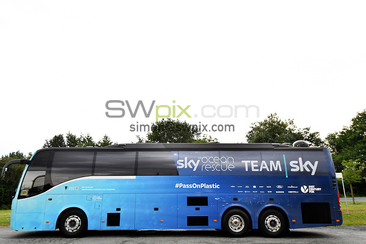 Picture by Simon Wilkinson/SWpix.com 04/07/2018 - Cycling Tour de France 2018 - Team Sky Press Conference - Saint-Mars La RÉORTHE, France<br /> Sir David BRAILSFORD and Chris FROOME and Team Sky - Ocean Rescue Team Sky Bus