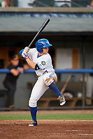 Bluefield Blue Jays shortstop Rafael Lantigua (25) at bat during a game against the Bristol Pirates on July 26, 2018 at Bowen Field in Bluefield, Virginia.  Bristol defeated Bluefield 7-6.  (Mike Janes/Four Seam Images)