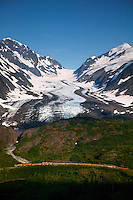 "The Alaska Railroad travels through the Chugach National Forest at the ""big curve"" in front of the Bartlett Glacier, Alaska...July 13, 2004 Porcaro / Alaska Railroad assignment"