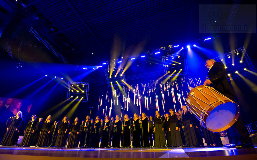 """Aug. 31, 2012; The Notre Dame Folk Choir performs in the """"Notre Dame a Welcome Home"""" pep rally at O2 arena in Dublin...Photo by Matt Cashore/University of Notre Dame"""