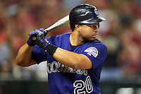 Colorado Rockies catcher Wilin Rosario #20 during a National League regular season game against the Arizona Diamondbacks at Chase Field on October 3, 2012 in Phoenix, Arizona. Colorado defeated Arizona 2-1. (Mike Janes/Four Seam Images)