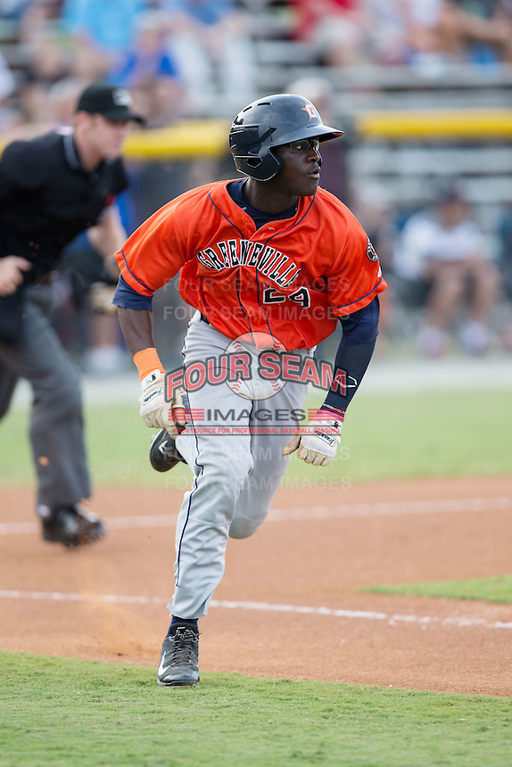 Daz Cameron (29) of the Greeneville Astros hustles down the first base line against the Burlington Royals at Burlington Athletic Park on August 29, 2015 in Burlington, North Carolina.  The Royals defeated the Astros 3-1. (Brian Westerholt/Four Seam Images)