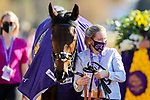 November 7, 2020 : Audarya, ridden by Pierre-Charles Boudot, wins the Maker's Mark Filly & Mare Turf on Breeders' Cup Championship Saturday at Keeneland Race Course in Lexington, Kentucky on November 7, 2020. Wendy Wooley/Breeders' Cup/Eclipse Sportswire/CSM