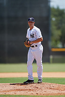 GCL Yankees East relief pitcher Blakely Brown (24) gets ready to deliver a pitch during a game against the GCL Blue Jays on August 2, 2018 at Yankee Complex in Tampa, Florida.  GCL Yankees East defeated GCL Blue Jays 5-4.  (Mike Janes/Four Seam Images)