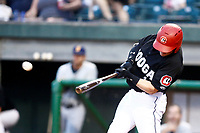 James Ramsey (1) of the Chattanooga Lookouts makes contact with the baseball during the game against the Montgomery Biscuits at AT&T Field on May 26, 2018 in Chattanooga, Tennessee. (Andy Mitchell/Four Seam Images)